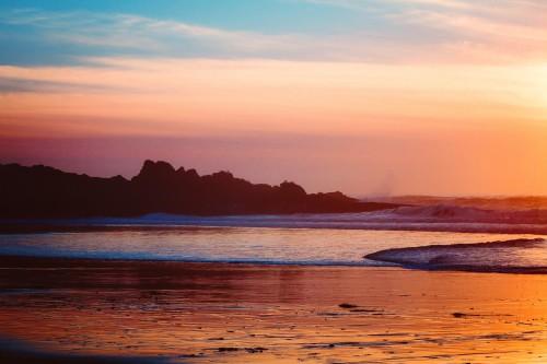 Beach Sunset Sea Shoreline Sun Ocean Water Sunrise Sky Clouds