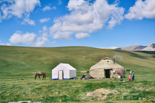Yurt Housing Dwelling Structure Landscape Rural Field - Free Photo 1