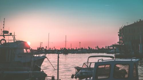 Marina Boat Water Sea Sky Ocean Boats Harbor Sunset - Free Photo 1